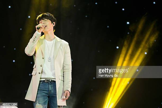 Donghae of South Korean boy band Super Junior DE performs onstage during the Super Junior DE Showcase on March 5 2015 in Seoul South Korea