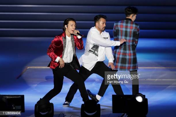 Donghae of Super Junior DE performs onstage during the PyeongChang 2018 Olympic and Paralympic Winter Games 1st Anniversary Festival In Gangneung on...