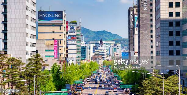 Dongho-ro street panoramic elevated view in Seoul South Korea