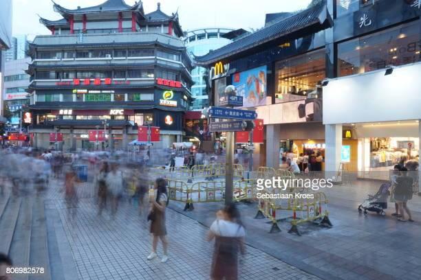 Dongmen Shopping and Long Exposure at Dusk, Shenzhen, China