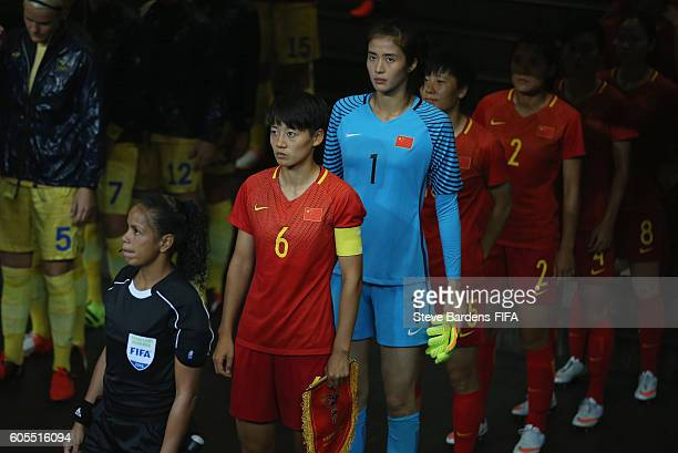 Dongna Li of China PR and her team mates wait in the tunnel prior to the Women's First Round Group E match between China PR and Sweden on Day 4 of...