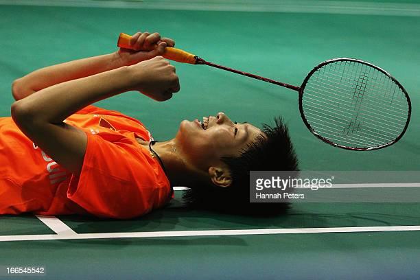 Dongni Ou of China celebrates winning the New Zealand Badminton Open Women's Doubles final match between Hoo Mun Kah Vivian and Woon Wei Khe of...