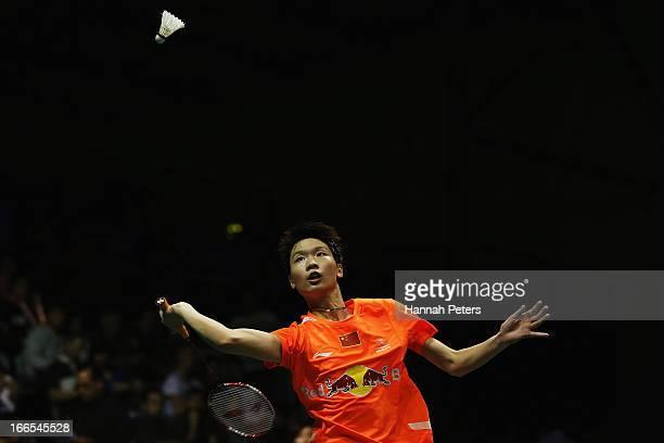 Dongni Ou of China plays a shot during the New Zealand Badminton Open Women's Doubles final match between Hoo Mun Kah Vivian and Woon Wei Khe of...