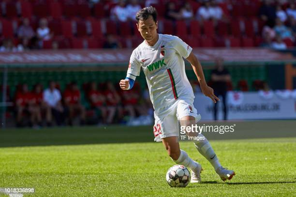 DongWon Ji of FC Augsburg controls the ball during the friendly match between FC Augsburg and Athletic Club Bilbao on August 12 2018 in Augsburg...