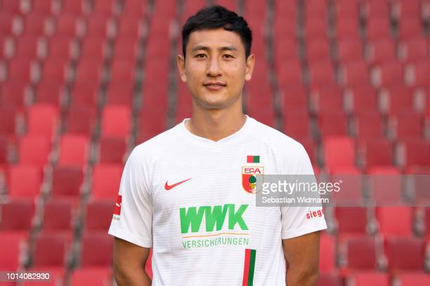 DongWon Ji of FC Augsburg poses during the team presentation at WWK Arena on August 9 2018 in Augsburg Germany