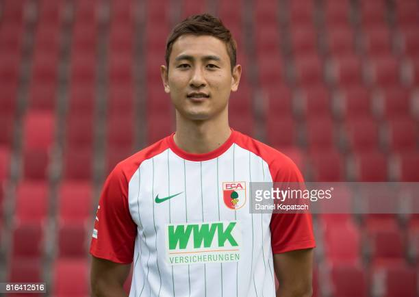 DongWon Ji of FC Augsburg poses during the team presentation at WWK Arena on July 17 2017 in Augsburg Germany