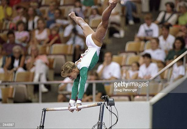 Donielle Thompson in action on the uneven bars during the 1994 World Gymnastics Championships Mandatory Credit Doug Pensinger /Allsport