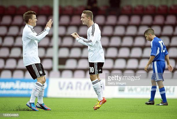 Donis Avdijaj of Germany celebrates the third goal with Simon Kranitz during the UEFA Under17 EURO Qualifier between U17 San Marino and U17 Germany...