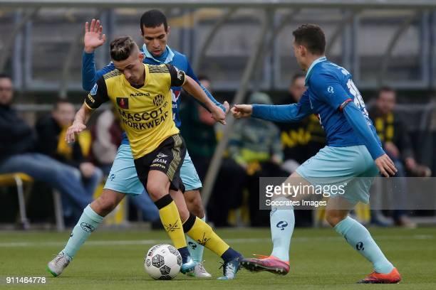 Donis Avdijaj of Roda JC Anouar Hadouir of Excelsior Luigi Bruins of Excelsior during the Dutch Eredivisie match between Roda JC v Excelsior at the...