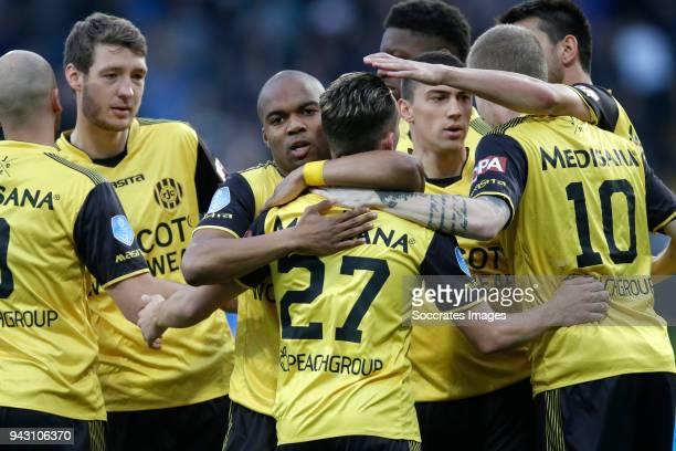 Donis Avdijaj of Roda JC celebrates 1-0 with Mikhail Rosheuvel of Roda JC during the Dutch Eredivisie match between Roda JC v PEC Zwolle at the...