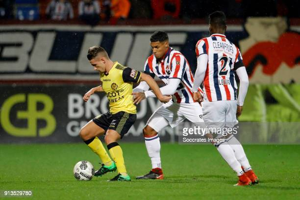 Donis Avdijaj of Roda JC Darryl Lachman of Willem II during the Dutch KNVB Beker match between Willem II v Roda JC at the Koning Willem II Stadium on...