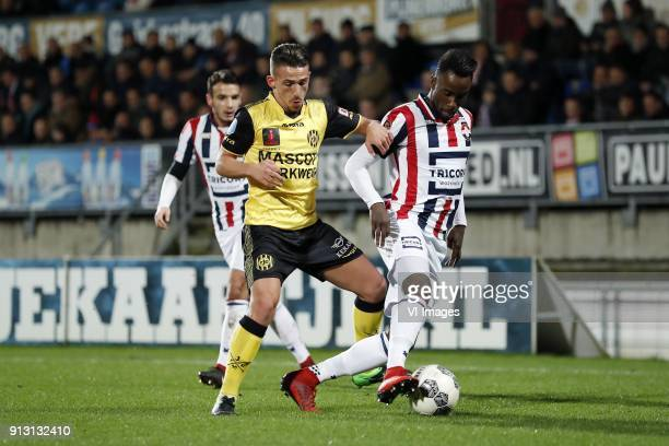 Donis Avdijaj of Roda JC Fernando Lewis of Willem II during the Dutch KNVB quarter final match between Willem II Tilburg and Roda JC Kerkrade at...
