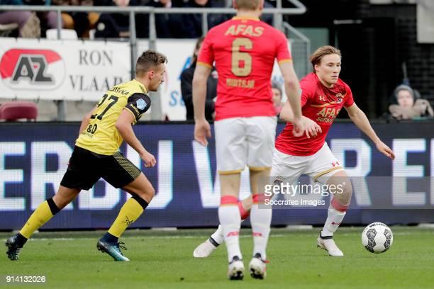 Donis Avdijaj of Roda JC Jonas Svensson of AZ Alkmaar during the Dutch Eredivisie match between AZ Alkmaar v Roda JC at the AFAS Stadium on February...