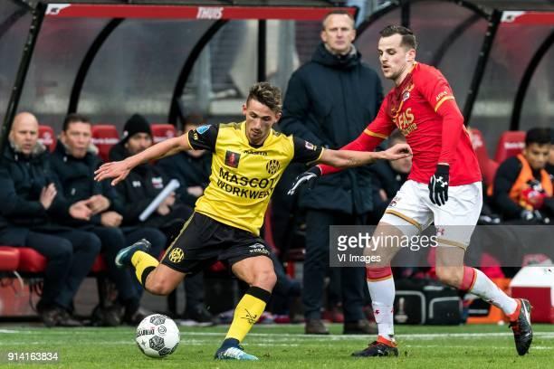 Donis Avdijaj of Roda JC Mats Seuntjens of AZ during the Dutch Eredivisie match between AZ Alkmaar and Roda JC Kerkrade at AFAS stadium on February...