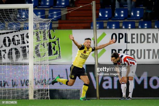 Donis Avdijaj of Roda JC scores but goal is canceled by videoreferee Freek Heerkens of Willem II during the Dutch KNVB Beker match between Willem II...