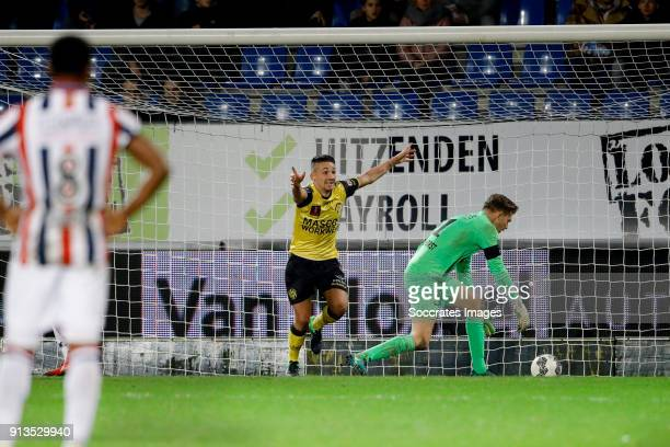 Donis Avdijaj of Roda JC scores but goal is canceled by videoreferee during the Dutch KNVB Beker match between Willem II v Roda JC at the Koning...