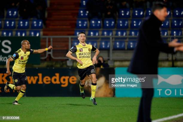 Donis Avdijaj of Roda JC scores but goal is canceled by videoreferee Mikhail Rosheuvel of Roda JC during the Dutch KNVB Beker match between Willem II...