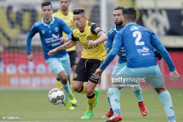 Donis Avdijaj of Roda JC Stanley Elbers of Excelsior during the Dutch Eredivisie match between Roda JC v Excelsior at the Parkstad Limburg Stadium on...
