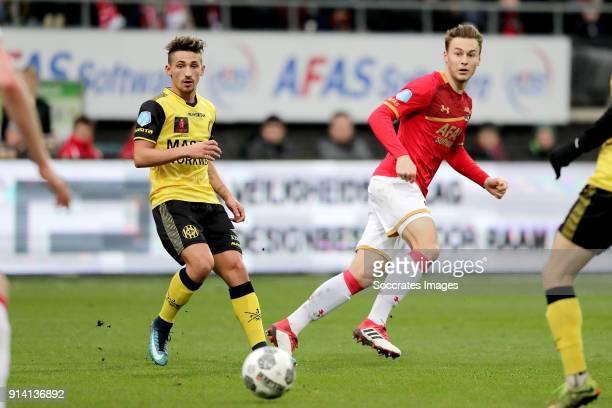 Donis Avdijaj of Roda JC Teun Koopmeiners of AZ Alkmaar during the Dutch Eredivisie match between AZ Alkmaar v Roda JC at the AFAS Stadium on...