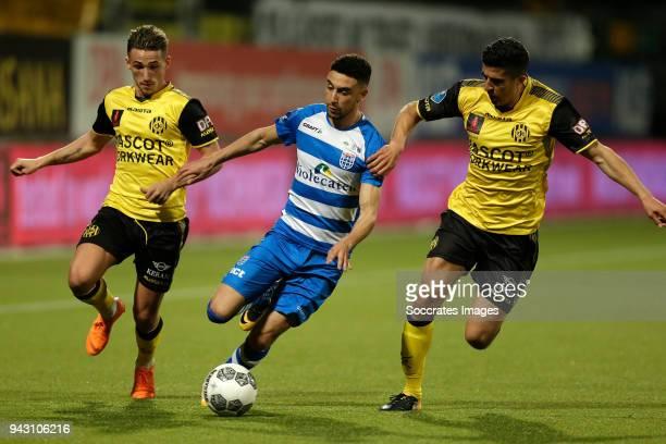 Donis Avdijaj of Roda JC Younes Namli of PEC Zwolle Mohamed El Makrini of Roda JC during the Dutch Eredivisie match between Roda JC v PEC Zwolle at...