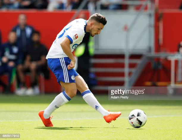 Donis Avdijaj of Schalke 04 scores a goal during the Bundesliga match between FC Ingolstadt 04 and FC Schalke 04 at Audi Sportpark on May 20 2017 in...