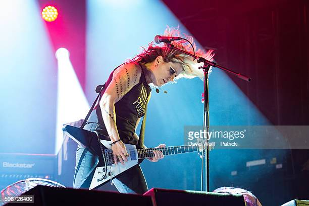 Donita Sparks from L7 performs at Rock en Seine on August 27 2016 in Paris France