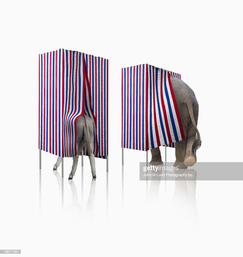 Donkey and elephant voting in voting booths : Stock Photo
