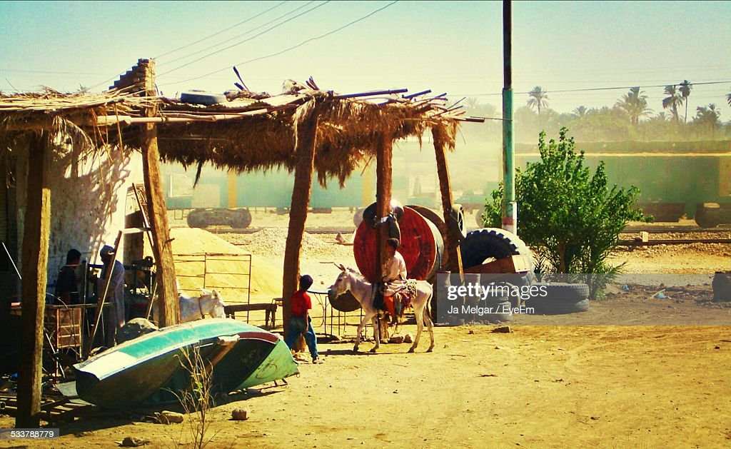 Donkey And People In Village : Foto stock