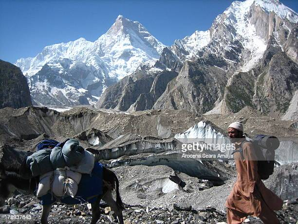 Donkey and porter in Trekking Baltoro, behind Masherbrum peak . Baltoro Concordia Trek has been a highlight for trekkers, and has allowed thousands...