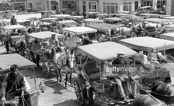 Donkey buggies are popular attraction for tourist on the island of Buyukada in the Sea of Marmora some distance from Istanbul Turkey 9/10/1966