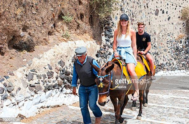 Donkey ride on on Santorini
