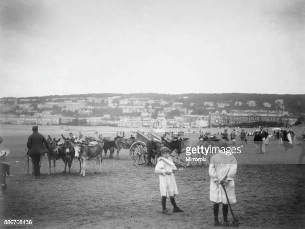 Donkey rides and carts on the beach at Weston Super Mare circa 1893