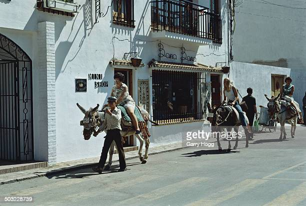 Donkey rides in Mijas a town in the Province of Málaga Spain 1973