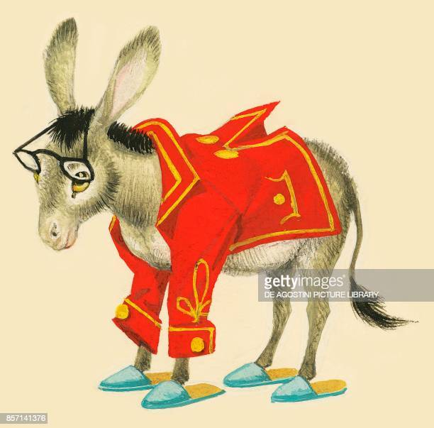 A donkey wearing glasses red jacket and slippers drawing