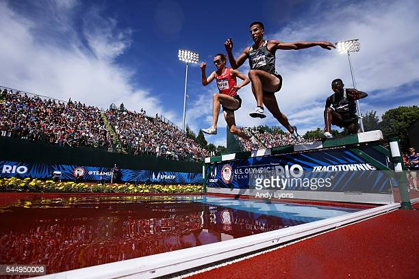 Donn Cabral competes in the first round of the Men's 3000 Meter Steeplechase during the 2016 U.S. Olympic Track & Field Team Trials at Hayward Field...