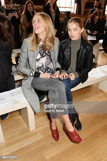Donna Air and daughter Freya Air Aspinall attend the ISSA Autumn/Winter 2015 Runway Show during London Fashion Week at One Great George Street on...