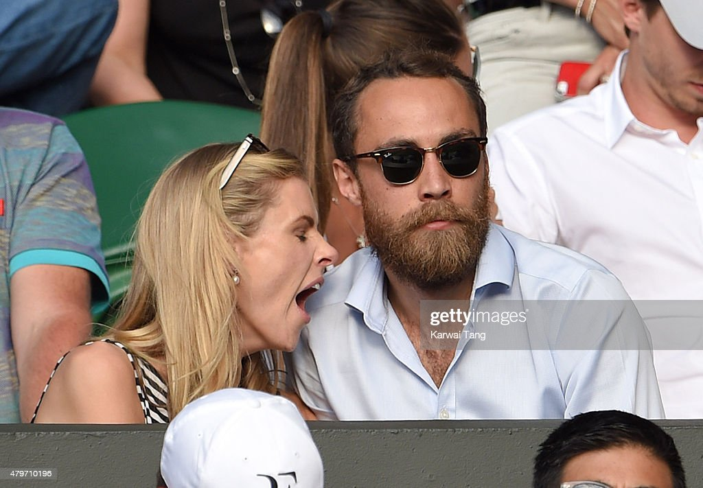 Donna Air and James Middleton attend day seven of the Wimbledon Tennis Championships at Wimbledon on July 6, 2015 in London, England.
