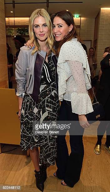 Donna Air and Lisa Snowdon attend the launch of the Hemsley Hemsley Cafe at Selfridges in the Body Studio on April 19 2016 in London England