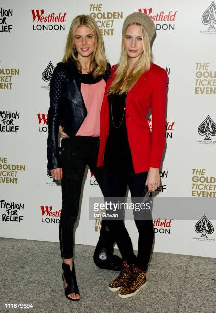 Donna Air and Poppy Delevingne attend the launch of a new Pop Up store in aid of Fashion For Relief at Westfield London shopping centre on April 5...