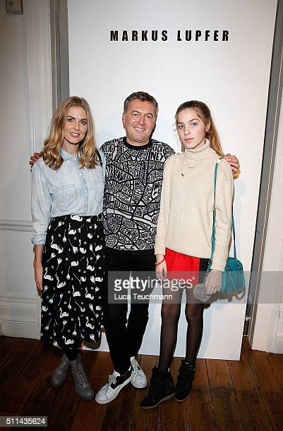 Donna Air Markus Lupfer and Freya Air attend the Markus Lupfer show during London Fashion Week Autumn/Winter 2016/17 at on February 20 2016 in London...