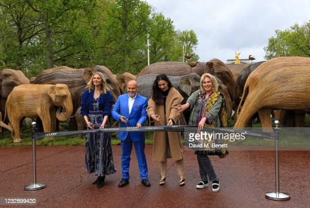Donna Air, Sergio Momo, Amy Jackson and Joanna Lumley celebrate The Elephant Family's CoExistence campaign at a special exhibition featuring elephant...