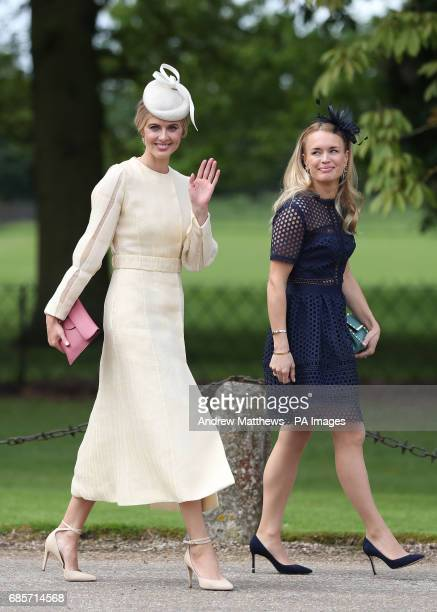 Donna Air waves to the waiting crowds as she arrives ahead of the wedding of the Duchess of Cambridge's sister Pippa Middleton to her millionaire...