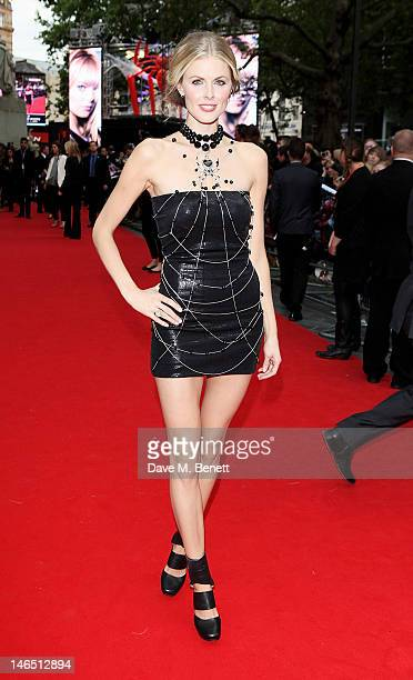 Donna Air wearing a specially created dress by designer Scott Henshall inspired by Spiderman arrives at the UK Premiere of 'The Amazing SpiderMan' at...