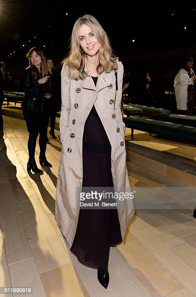 Donna Air wearing Burberry at the Burberry Womenswear February 2016 Show at Kensington Gardens on February 22 2016 in London England