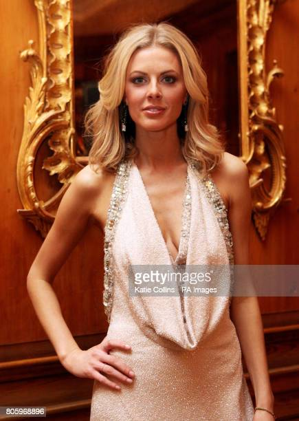 Donna Air wears a Bruce Oldfield dress backstage at The Dorchester Hotel for The Goldilocks Fashion Show in aid of Kids Company