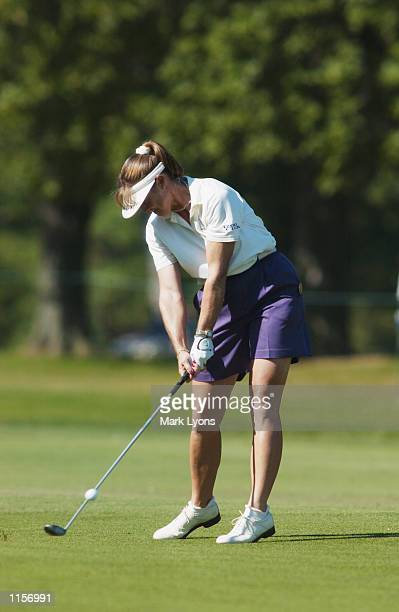 Donna Andrews hits a shot during the third round of the Jamie Farr Kroger Classic on July 13, 2002 at Highland Meadows GC in Sylvania, Ohio.