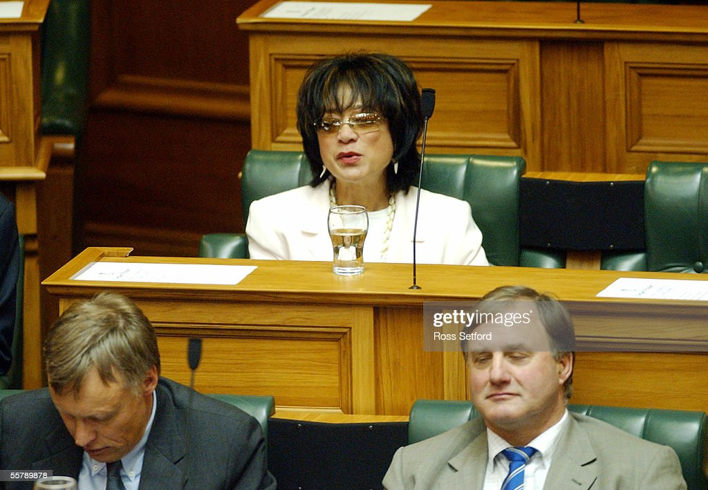 Donna Awatere Huata sits in the Parliament debatin : News Photo