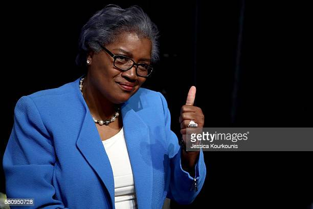Donna Brazile gives a thumbs up durring the first day of the Democratic National Convention at the Wells Fargo Center July 25 2016 in Philadelphia...