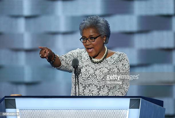 Donna Brazile vice chair of the Democratic National Committee speaks during the Democratic National Convention in Philadelphia Pennsylvania US on...