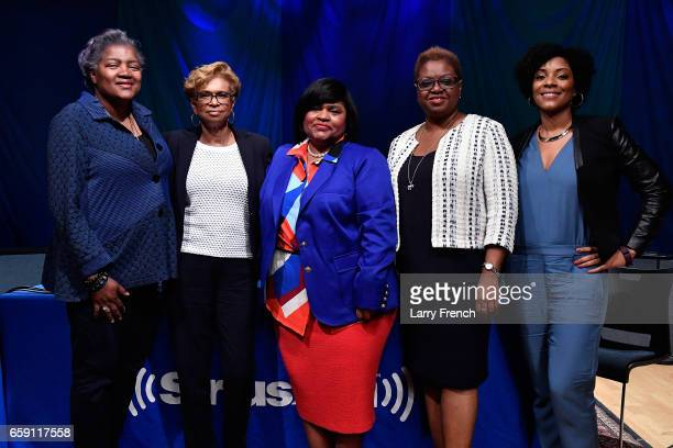 Donna Brazile Yolanda Caraway Minyon Moore Leah Daughtry and Host Zerlina Maxwell are seen after SiriusXM's Progress Channel Presents For Colored...